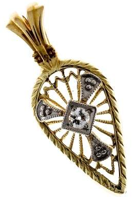 Vintage Filigree 14K Yellow & White Gold and 0.05ct Diamond Pendant