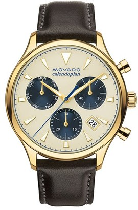 Movado 'Heritage' Chronograph Leather Strap Watch, 43Mm $850 thestylecure.com