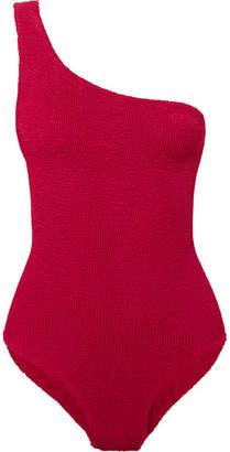 HUNZA G - Nancy One-shoulder Seersucker Swimsuit - Merlot