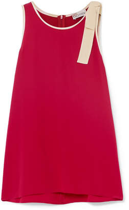 RED Valentino Bow-embellished Silk Crepe De Chine Top