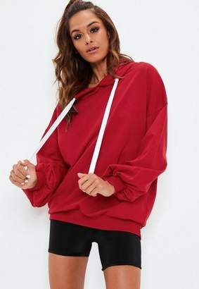 Missguided Red Over Sized Puff Sleeve Hoodie