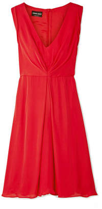 Giorgio Armani Gathered Silk-chiffon Dress