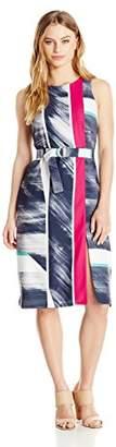 Ellen Tracy Women's Petite Size Belted Column Dress