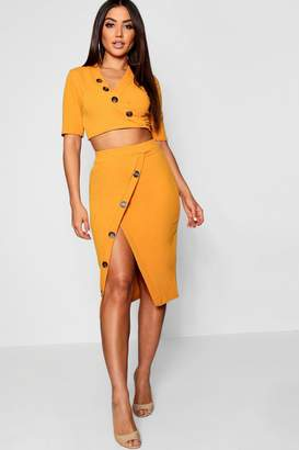 boohoo Horn Button Asymmetric Midi Skirt Co-ord