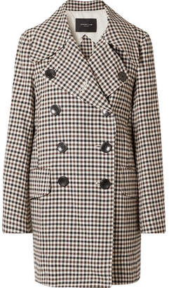 Derek Lam Double-breasted Gingham Woven Coat - Brown