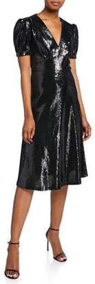 HVN Paula Deep V-Neck Sequined Dress