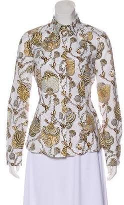 551994245730ba Pre-Owned at TheRealReal · Gucci Shell Print Button-Up Top