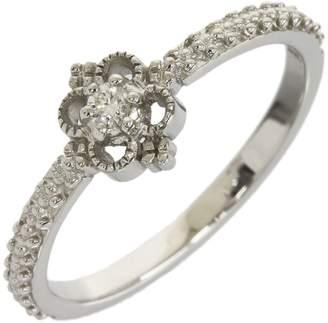 Ahkah 18K White Gold 0.03ct Diamond Ring