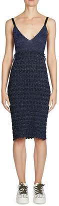 Kenzo Women's Ruffled Lurex Knit Sheath Cotton Dress