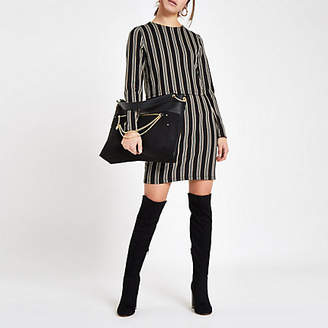 River Island Womens Petite brown stripe long sleeve bodycon dress