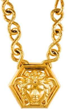 Versace medusa necklace shopstyle pre owned at therealreal versace medusa pendant necklace aloadofball Images