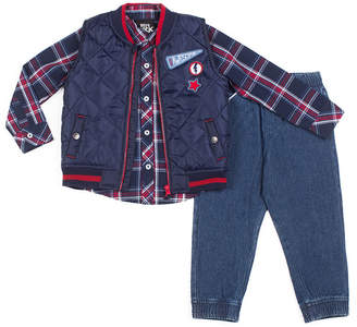 Little Lass 3-pc.Awesome Puffy Vest Pant Set -Baby Boys