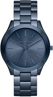 Michael Kors Women's Slim Runway Blue Ion-Plated Stainless Steel Bracelet Watch 42mm MK3419 $195 thestylecure.com