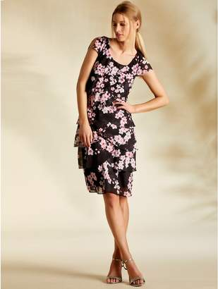 29cf63d3284 M Co Oriental floral chiffon shutter dress