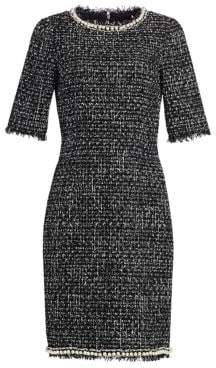 Teri Jon by Rickie Freeman Tweed Pearl-Trimmed Sheath Dress