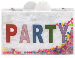 Bari Lynn Girls' Confetti Party Glittered Acrylic Box Clutch Bag