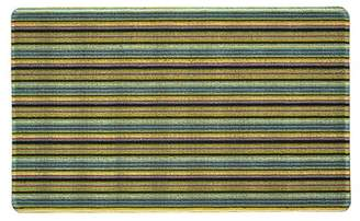 "Moda At Home Aqua/Gold/Black Merkka Stripe Loop Rug - 18""x30\"""