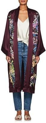Alice Archer Women's Gianna Embroidered Silk Satin Robe