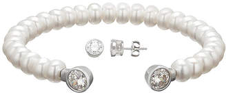 Swarovski SOFIA Certified Sofia Cultured Freshwater Pearl & Cubic Zirconia Bracelet and Earrings Set