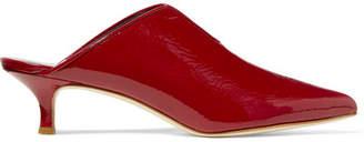 Tibi Patent-leather Mules - Claret