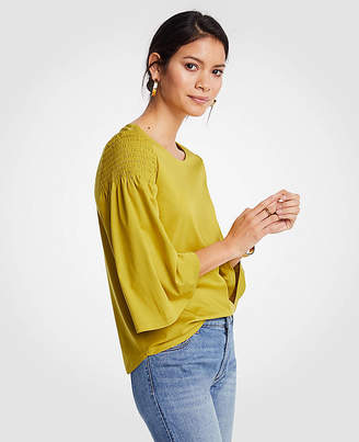 Ann Taylor Petite Smocked Shoulder Tee