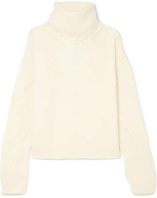 Tory Burch Eva Convertible Oversized Wool-blend Turtleneck Sweater - Ivory