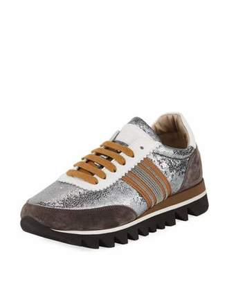 Brunello Cucinelli Metallic Leather Runner Sneaker