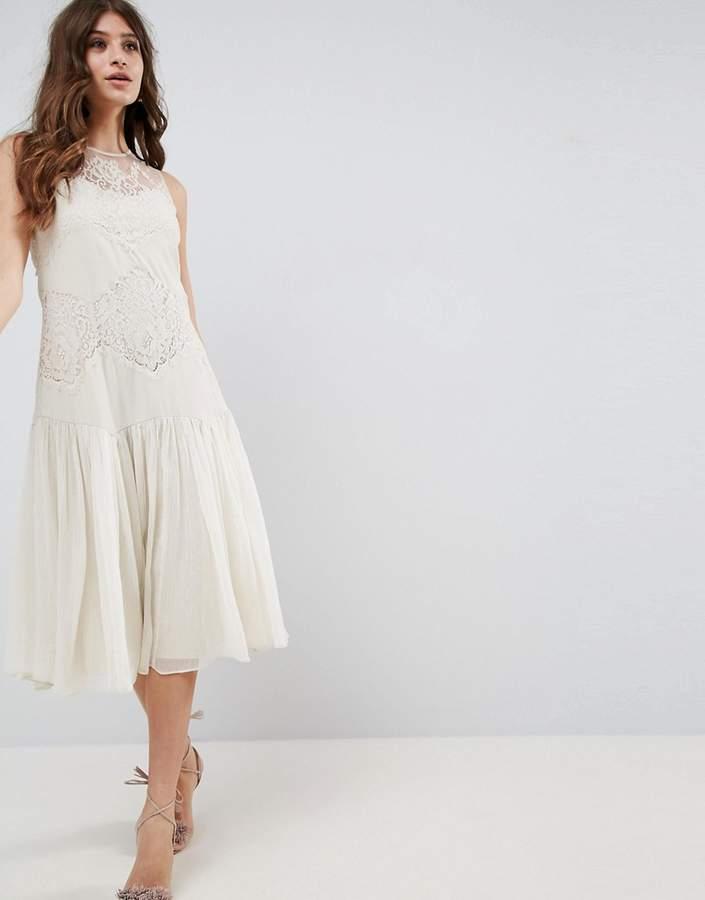 AsosASOS Lace Paneled Drop Hem Midi Dress