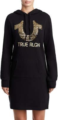 True Religion WOMENS SEQUIN SWEATSHIRT DRESS W/ HOOD