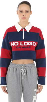 D-Antidote Cropped Striped Polo Shirt