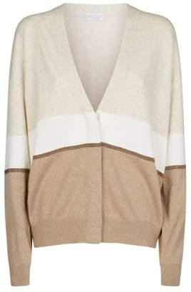 Brunello Cucinelli Cashmere Contrast-Stripe Cardigan