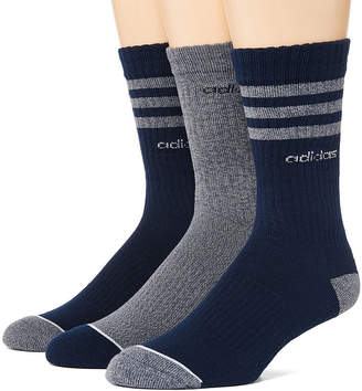 adidas Core 3 Stripe 3 Pair Crew Socks-Mens