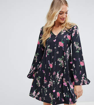 Asos Tall TALL Button Through Swing Dress With Trumpet Sleeve In Floral Print