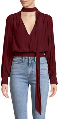 Ramy Brook Winslow Shirred Tie-Neck Long-Sleeve Top