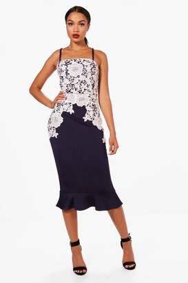 boohoo Crochet Lace Panelled Frill Hem Midi Dress