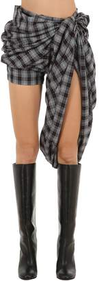 Y/Project Draped Plaid Shorts