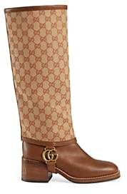 Gucci Women's Gaiter-Overlay Leather Knee Boots - Beige, Tan