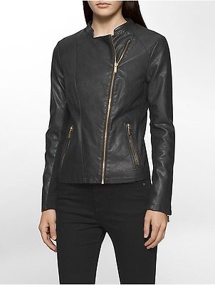 Calvin Klein Calvin Klein Womens Faux Leather Rib Knit Moto Jacket