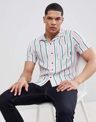 Religion Slim Revere Collar Shirt In Stripe