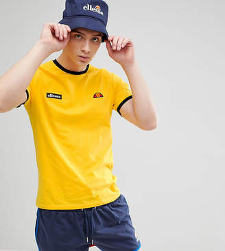 Ellesse Ringer T-Shirt With Small Logo In Yellow