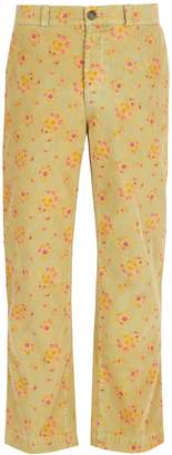 Gucci Floral straight-leg corduroy trousers