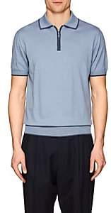 Luciano Barbera MEN'S COTTON-CASHMERE POLO SHIRT-BLUE SIZE XXL
