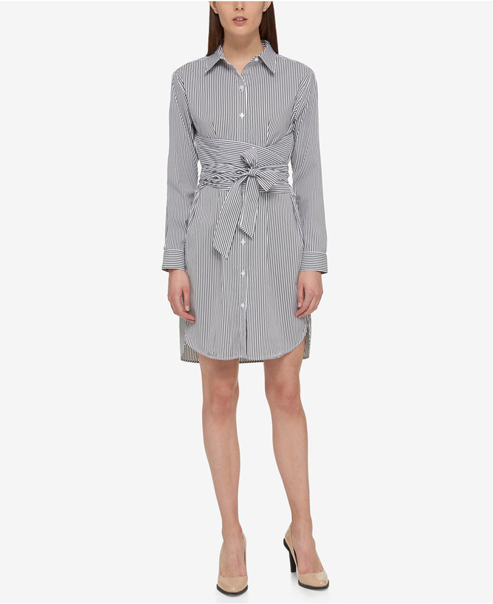 DKNY DKNY Pinstripe Belted Shirtdress