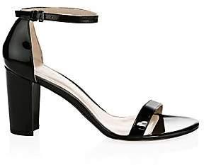 Stuart Weitzman Women's Nearlynude Block-Heel Patent Leather Sandals