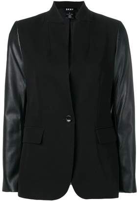 DKNY faux leather sleeve blazer