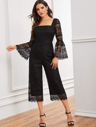 Shein Flounce Sleeve Lace Overlay Wide Leg Jumpsuit