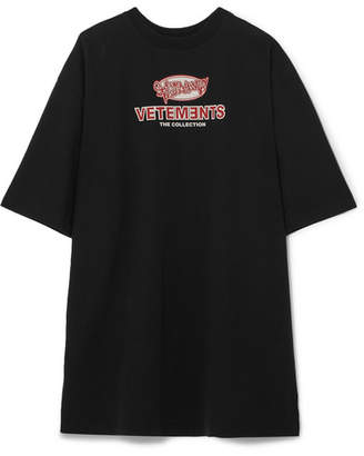 Vetements Oversized Printed Stretch-cotton Jersey T-shirt - Black