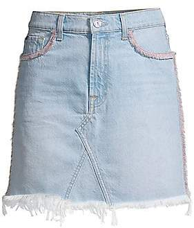 7 For All Mankind Women's Fringed Denim Mini Skirt