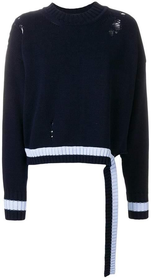 Distressed-Pullover mit gestreiften Abschlüssen