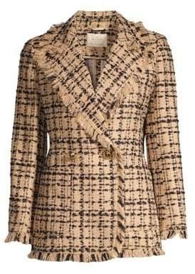 Kate Spade Women's Bi-Color Tweed Blazer - Roasted Peanut Black - Size 10